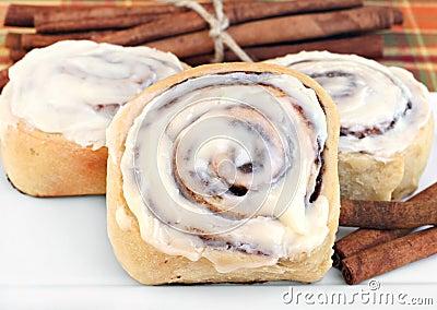 Fresh cinnamon buns with selective foucs.