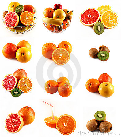 Fresh citrus fruits orange kiwi banana grapefruit