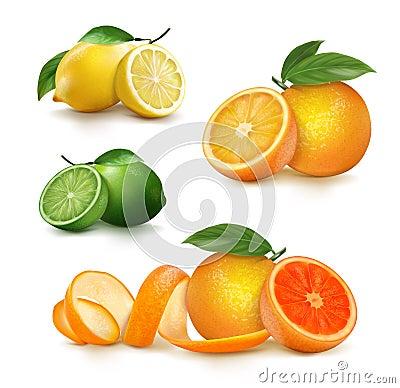 Free Fresh Citrus Fruits Whole And Halves. Royalty Free Stock Photos - 127805998
