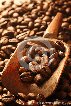 Fresh coffee beans in a wooden scoop
