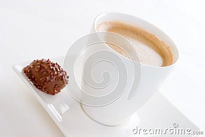 A fresh coffee and chocolate