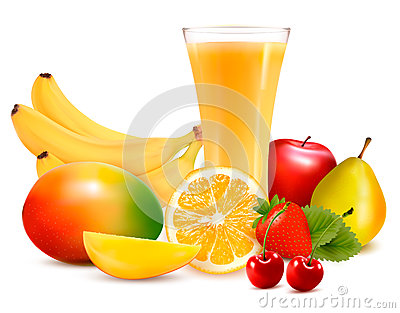 Fresh color fruit and juice. Vector