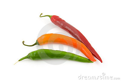 Fresh colored hot peppers