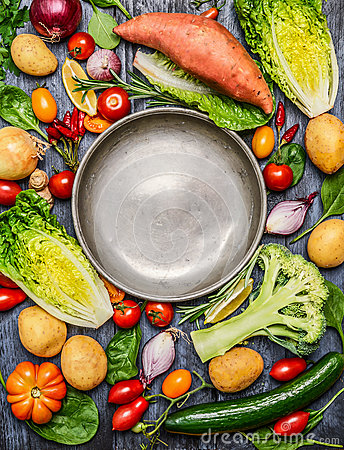Free Fresh Colorful Organic Season Vegetables Ingredients Around Empty Steel  Plate On Rustic Wooden Background, Top View, Copy Space Royalty Free Stock Image - 60009016