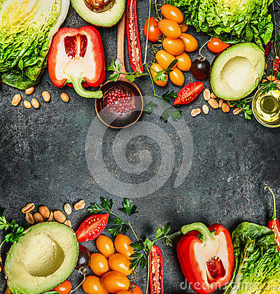 Free Fresh Colorful Vegetables Ingredients For Tasty Vegan And Healthy Cooking Or Salad Making On Rustic Background, Top View, Frame. Royalty Free Stock Photography - 60949937