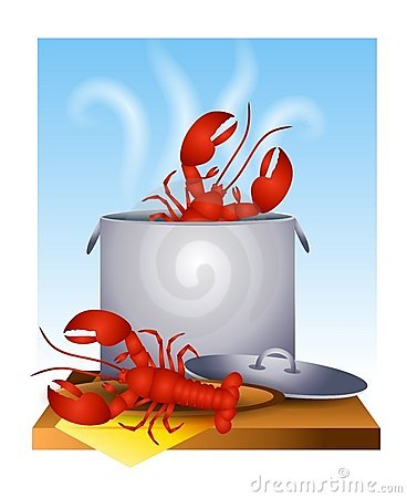 Fresh Cooked Lobster in The Pot