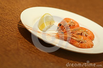 Fresh cooked prawns