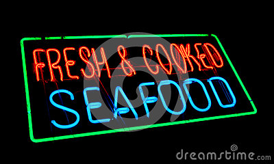 Fresh and Cooked Seafood Old Neon Light Store Sign