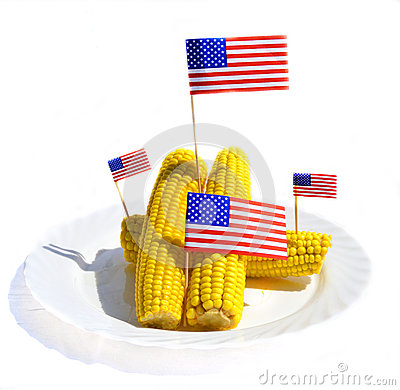 FRESH CORN WITH US FLAGS
