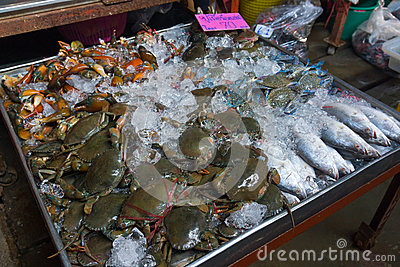 Fresh crabs and fish