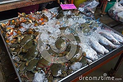 Fresh crabs and fish