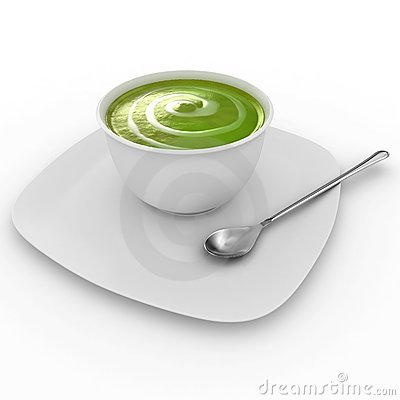 Fresh Cream of Broccoli soup isolated on white