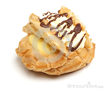 Fresh Cream Choux Pastry Bun Isolated