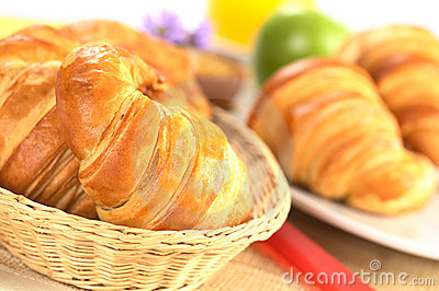 Fresh Croissants in Basket