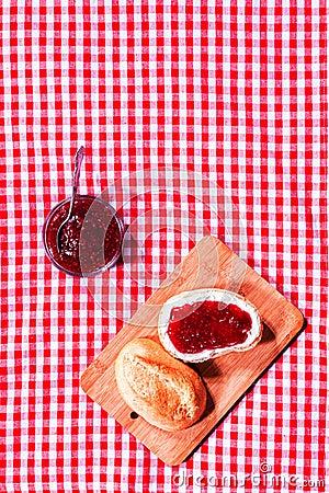 Free Fresh Crusty Roll With Strawberry Jam Stock Image - 39390971