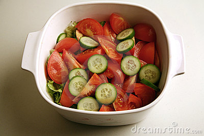 Fresh cucumber and tomato salad