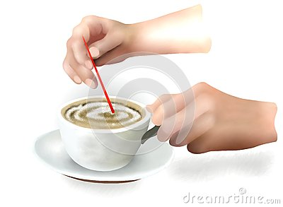 A Fresh Cup of Coffee with Plastic Spoon