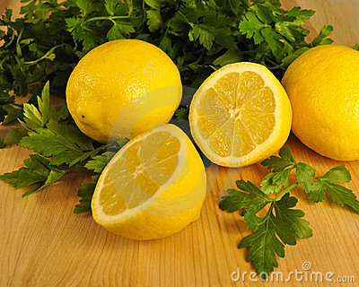 Fresh Cut Lemons and Flat Leaf Parsley