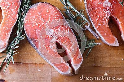 Fresh cut Salmon steaks