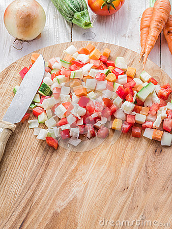 Free Fresh Cut Vegetables On The Wooden Board. Stock Image - 60599111