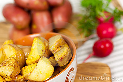 Fresh Deep fried potatoes in the bowl