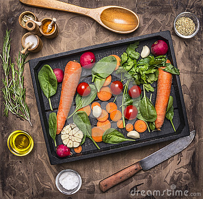 Free Fresh Delicious Ingredients For Healthy Cooking Or Salad Making On Rustic Background, Top View Diet Or Vegetarian Food Concept Royalty Free Stock Images - 73554499