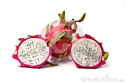 Fresh dragon fruit isolated on white background.