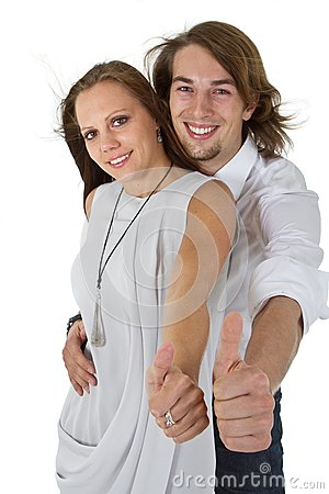 Fresh european couple with long hair