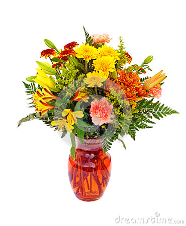 Fresh fall color flower arrangement in orange vase