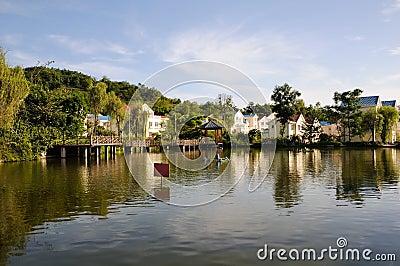 Fresh farmhouses near water