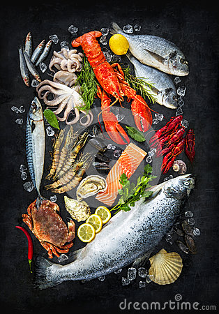 Free Fresh Fish And Seafood Royalty Free Stock Photos - 91110328
