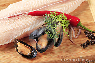 Fresh fish fillet and mussels