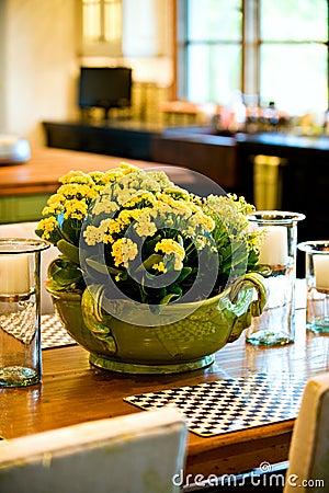 Fresh flower arrangement on the dining room table