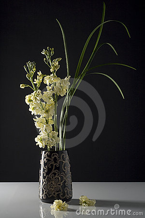 Fresh Flowers in Black Vase