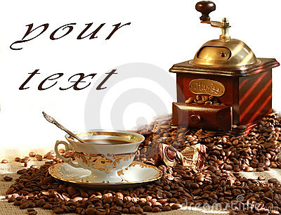Fresh fragrant coffee and coffee grinder