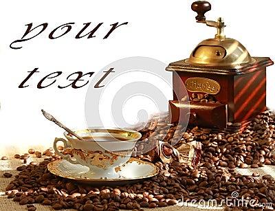 Fresh fragrant coffee and coffee grinder