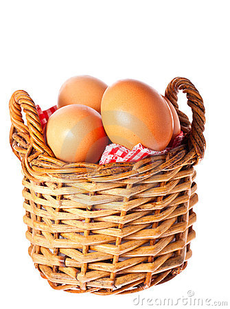 Fresh free range chicken eggs in a basket