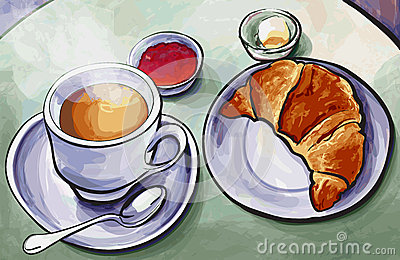 Fresh french breakfast with coffee expresso and croissant in wat
