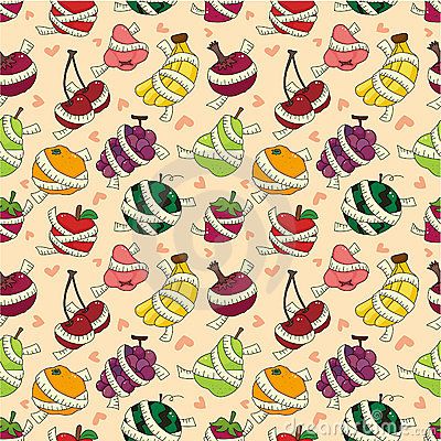 Free Fresh Fruit And Ruler Health Seamless Pattern Stock Photos - 20610483
