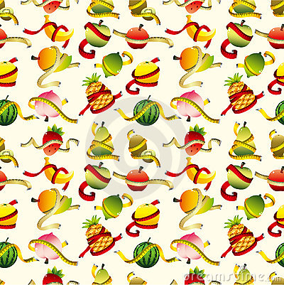 Free Fresh Fruit And Ruler Health Seamless Pattern Royalty Free Stock Images - 20747739