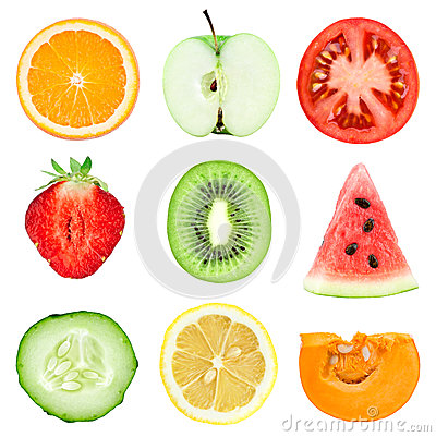 Free Fresh Fruit And Vegetable Slices Stock Image - 42861181