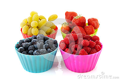 Fresh fruit in colorful cups