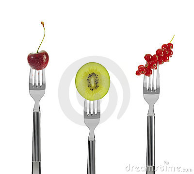 Fresh fruit on forks