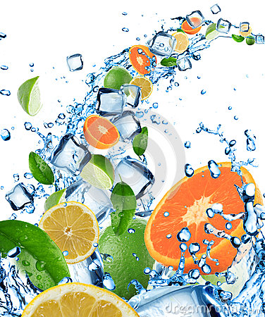 Free Fresh Fruit In Water Splash With Ice Cubes Stock Image - 25702191