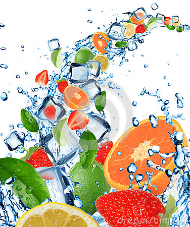 Free Fresh Fruit In Water Splash With Ice Cubes Stock Photography - 25702192