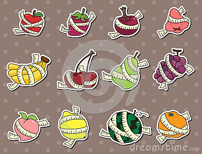 Fresh fruit and ruler health stickers