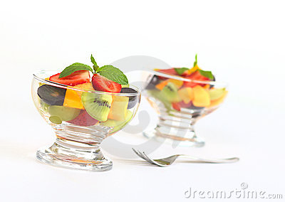 Fresh Fruit Salad in Glass Bowl