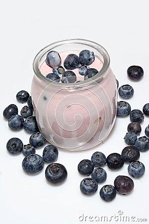Fresh fruit yogurt with blueberries