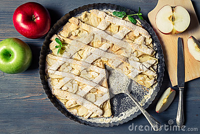 Fresh fruits and baked apple pie