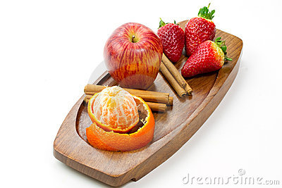 Fresh fruits and cinnamon